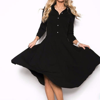 Black Knee Length  Dress - Womozon