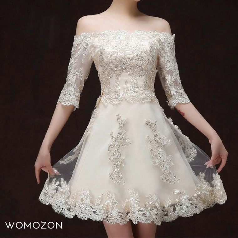 Applique Lace Dress - womozon