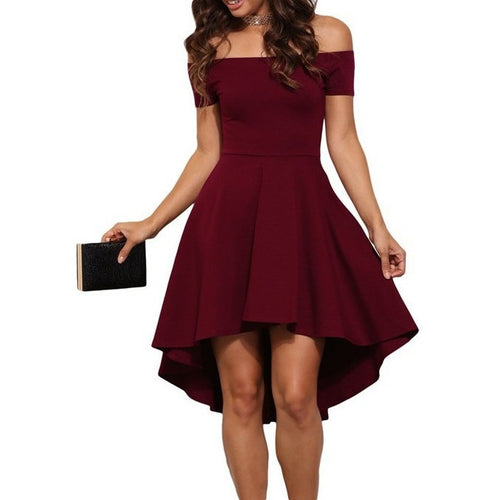 Off Shoulder Skater Dress - womozon