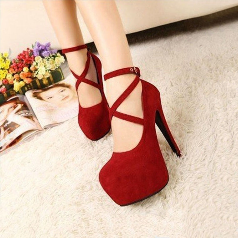 Ankle Strap Lace-up Shoes - womozon