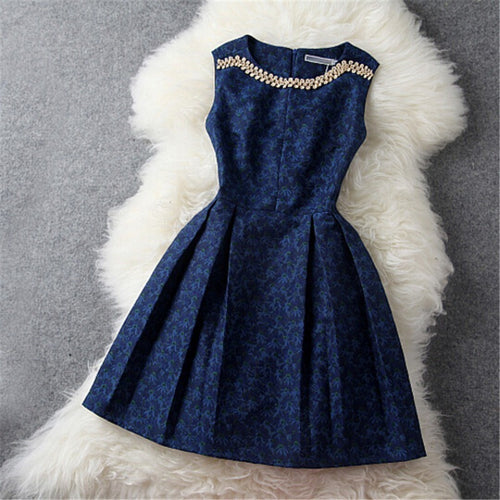 Blue Vintage Elegant Dress - womozon
