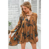 Lantern Sleeve Floral Short Dress