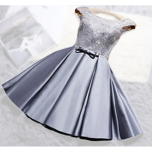 O-neck Lace Satin Dress
