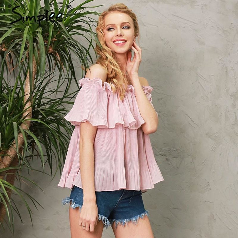 Off-Shoulder Ruffle Chiffon Top