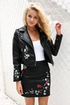 Embroidery faux leather coat