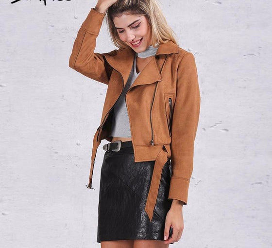 Zipper basic suede jacket