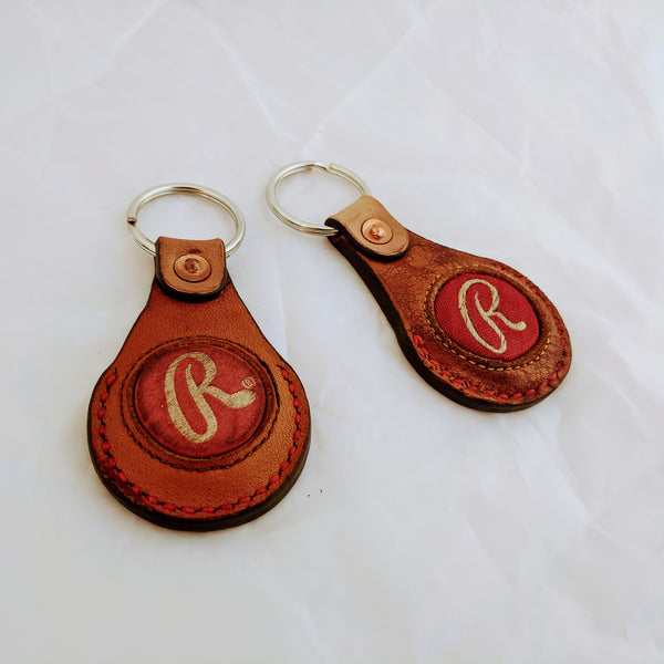 "Key Fob with Rawlings ""R"" badge. Made from a vintage baseball glove."