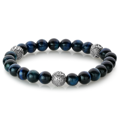 BLUE TIGER EYE STRETCH BEAD BRACELET