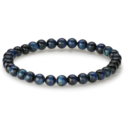 BLUE TIGER EYE BEAD BRACELET