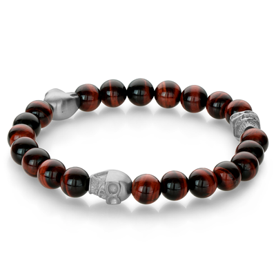 SKULL RED TIGER EYE BRACELET