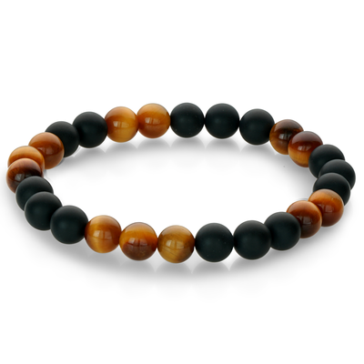 TIGER EYE BLACK BEAD BRACELET