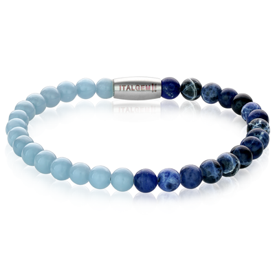 LIGHT BLUE NAVY BEAD BRACELET