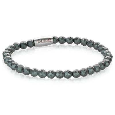MATTE GREY HEXAGON BEAD BRACELET