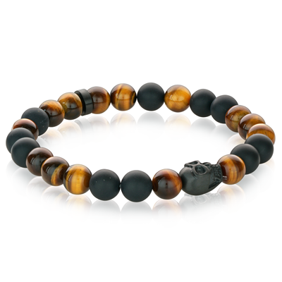YELLOW TIGER EYE SKULL BRACELET