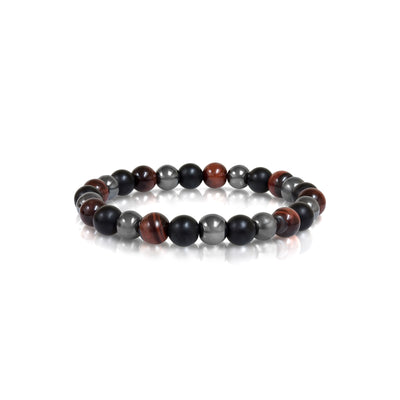 RED TIGEREYE BLACK HEMATITE BEAD BRACELET