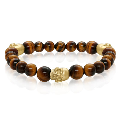 GOLD-IP MATTE-SKULL TIGER EYE BEAD BRACELET