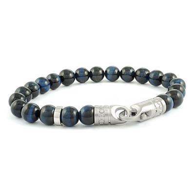BLUE TIGEREYE BEAD BRACELET