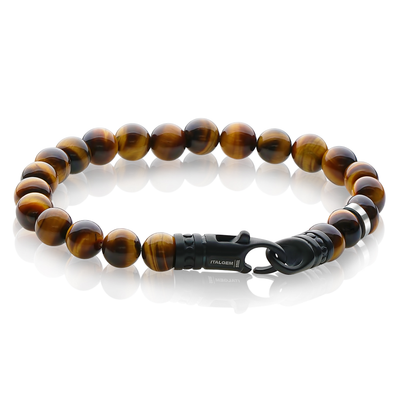 YELLOW TIGER EYE 8MM WITH BLACK MATTE STEEL CLASP 8.5""