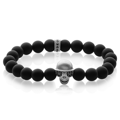 SKULL GLASSES BLACK BEAD BRACELET