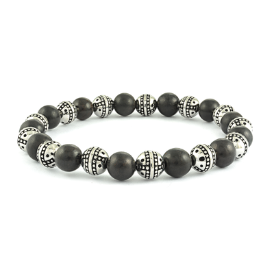 STEEL EBONY BEADS STRETCH BRACELET