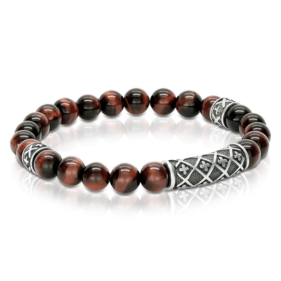 CROSS RED TIGER EYE BRACELET