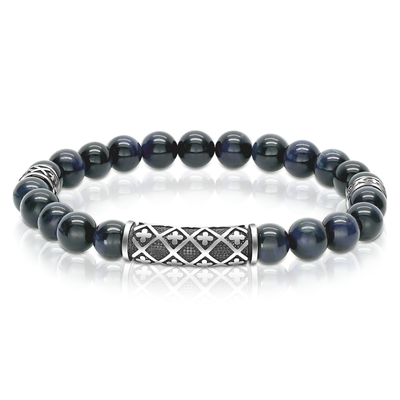 CROSS DESIGN BLUE TIGER BRACELET