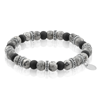 ITALGEM  STEEL MEN'S BLACK AND GREY BEAD BRACELET