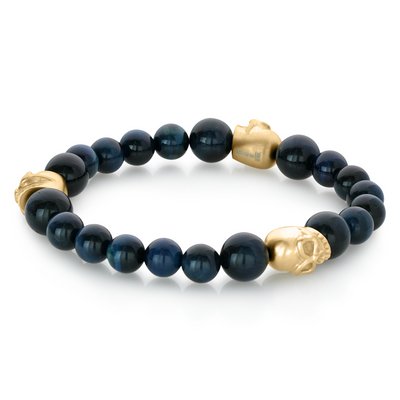 BLUE TIGEREYE GOLD SKULL BRACELET