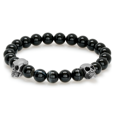 ITALGEM STEEL STAINLESS STEEL DOUBLE SKULL SHINY MATE ONYX BEAD BRACELET