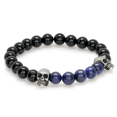 DOUBLE SKULL BLUE BLACK BRACELET