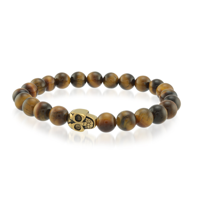TIGER-EYE YELLOW-IP S.STEEL SKULL-BEAD BRACELET