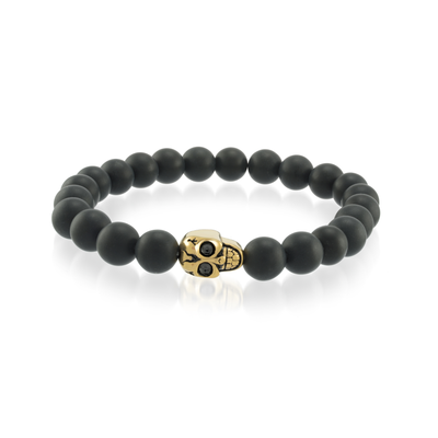 YELLOW-IP SKULL BLACK BEAD BRACELET