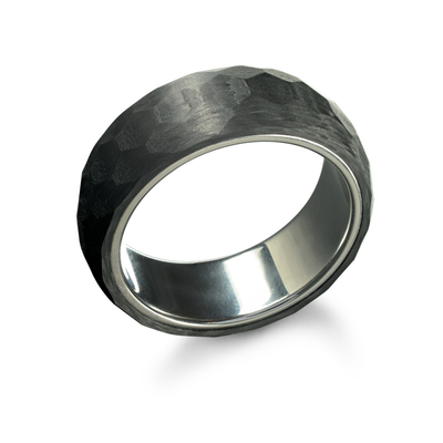 ITALGEM STEEL MEN'S STAINLESS STEEL AND CARBON FIBER RING