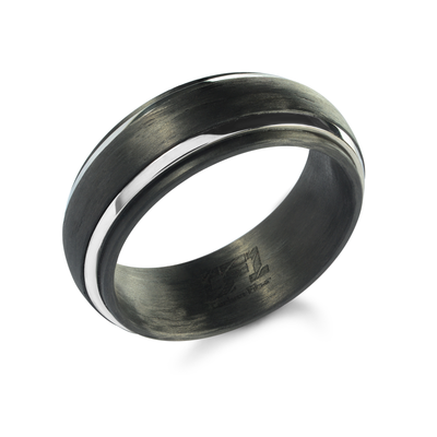 ITALGEM STEEL MEN'S STAINLESS STEEL BLACK CARBON FIBER 8 MM RING