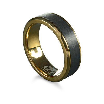ITALGEM STEEL MEN'S YELLOW IP STAINLESS STEEL AND CARBON FIBER RING
