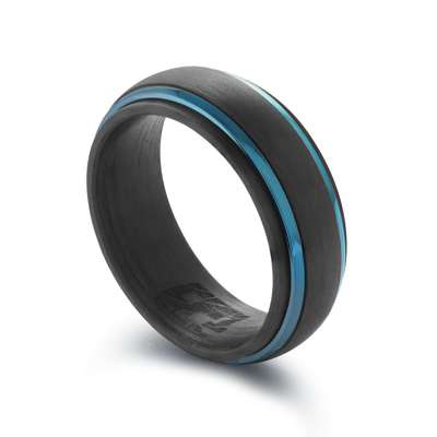 ITALGEM STEEL  BLUE IP STAINLESS STEEL AND CARBON FIBER RING