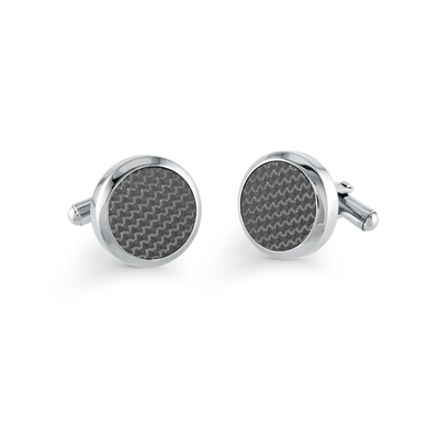 ITALGEM STEEL BLACK CARBON FIBER ROUND CUFFLINKS