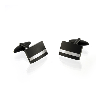 ITALGEM STEEL BLACK 1-LINE CUFFLINKS