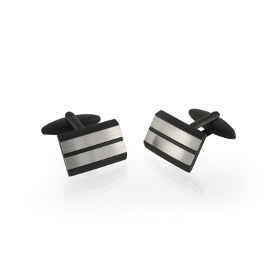 ITALGEM STEEL BLACK-MATE 2-LINE CUFFLINKS