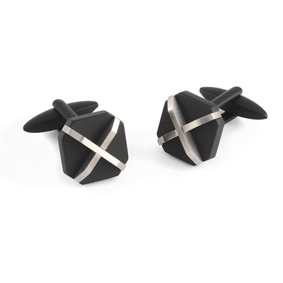 ITALGEM STEEL BLACK MATE X-PATTERN CUFFLINKS