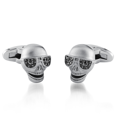 MATTE BLACK-CZ SKULL GLASSES CUFFLINKS