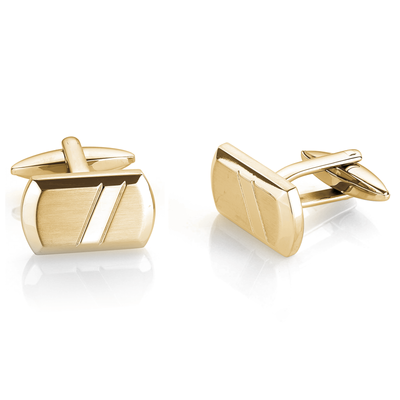 YELLOW-IP BRUSHED POLISHED CUFFLINKS