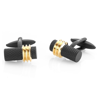 BLACK-GOLD MESH-LINED CUFFLINKS