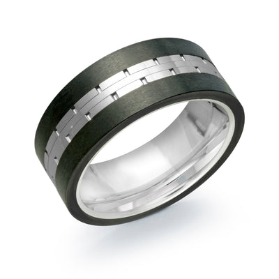 SIGNATURE TUNGSTEN BLACK-EDGE WHITE-BRICK-CENTER BAND