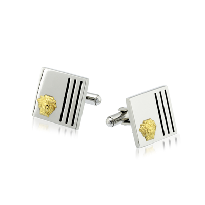 STAINLESS STEEL +18K GOLD MEDUSA CUFFLINKS