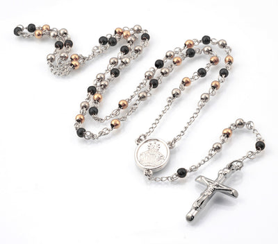 Rosario Black and Rose IP Stainless Steel  Rosary