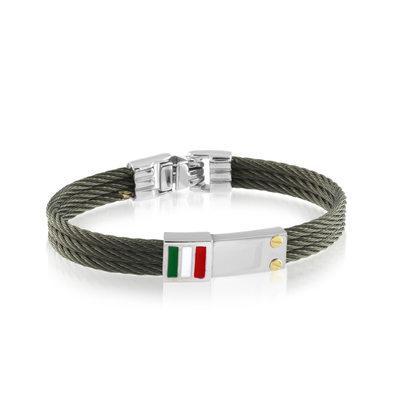 ITALGEM STEEL  KIDS BLACK CABLE STAINLESS STEEL ITALIAN FLAG BRACELET