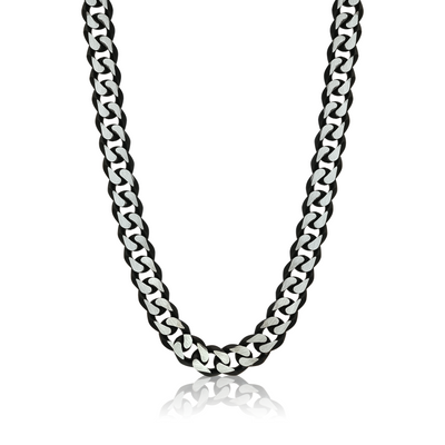 BLACK-IP MATTE DIAMOND CUT CURB LINK NECKLACE