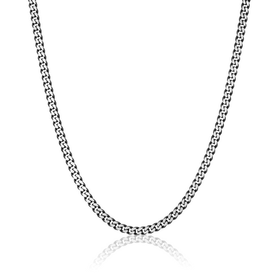 "BLACK-IP S.STEEL BRUSHED-D.CUT 5.5MM-22""+2""-EXT NECKLACE"