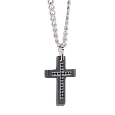 BLACK-IP BLACK-CZ CROSS NECKLACE